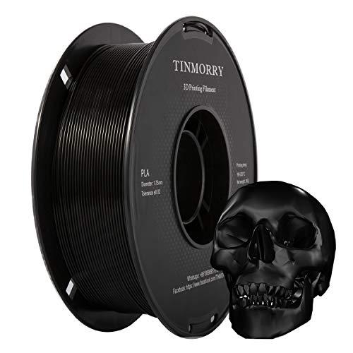 TINMORRY PLA Filamento 1.75 mm, Tangle-Free Filamento para impresora 3D Negro, Tolerancia de diámetro +/- 0.02 mm, Peso neto 1kg 1 carrete, Jet Black