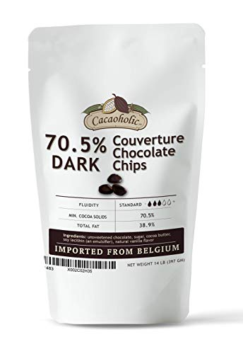 14 oz Cacaoholic Dark Couverture Chocolate Chips   70.5% Cocoa   Resealable Stand Up Pouch