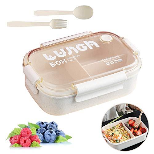Sunshine smile Caja de Bento con 3 Compartimentos,microondas y lavavajillas Lunch Box,Bento Box para Niños,Fambrera Infantil,Caja de Almuerzo de Plástico,Fiambreras Bento (Beige 2)