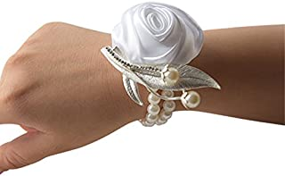 Jackcsale Fashion Wedding Bridesmaid Wrist Flower Corsage Party Hand Flower Decor with Faux Pearl Bead Wristband White Pack of 2
