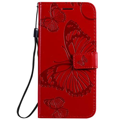 Hülle für Huawei nova 5T / Honor 20 Handyhülle Schutzhülle Leder PU Wallet Bumper Lederhülle Ledertasche Klapphülle Klappbar Magnetisch für Huawei nova 5T - ZIKT040880 Rot