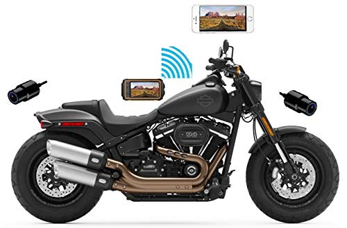 """Sykik Rider CBR5.0 Dual 1080p Camera System with Wi-Fi and 3.0"""" Waterproof Display"""