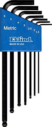 EKLIND 13607 Ball-Hex-L Key allen wrench - 7pc set Metric MM sizes 1.5-6 Long series