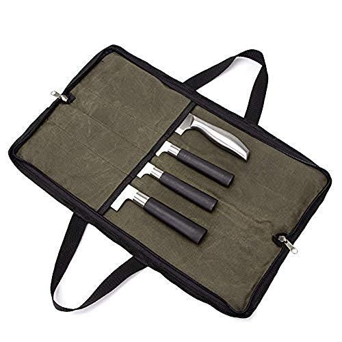 QEES 4 Fächer Messerspeicher, Messertaschen für Küchenmesser Klein, Messertasche für Köche, Küchenwerkzeugtasche für Küchenmesserset (Armeegrün)