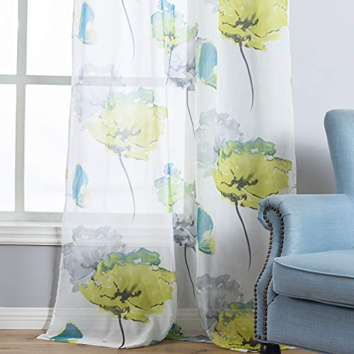 Taisier Home Girls Bedroom Curtain for Summer Floral Watercolor Style Voile Sheer Curtains, 2 Panels Grommet Yellow Lotus Leaf Print Window Panels Draperies Perfect for Kids, W54 x L84 Inches
