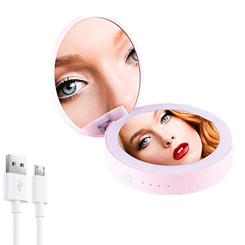 GutView Led Lighted Pocket Mirror, 2in1 Travel Makeup Mirror and Power Bank 3000mAh Charger,...