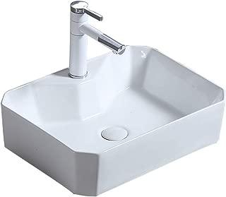 JUFU Bathroom Accessories Bathroom wash Basin,Rectangular Ultra-Thin Ceramic Above Counter Basin Household Sink Vanity Single Basin, 50X37X13.5cm @@ (Size : 50X37X13.5cm)