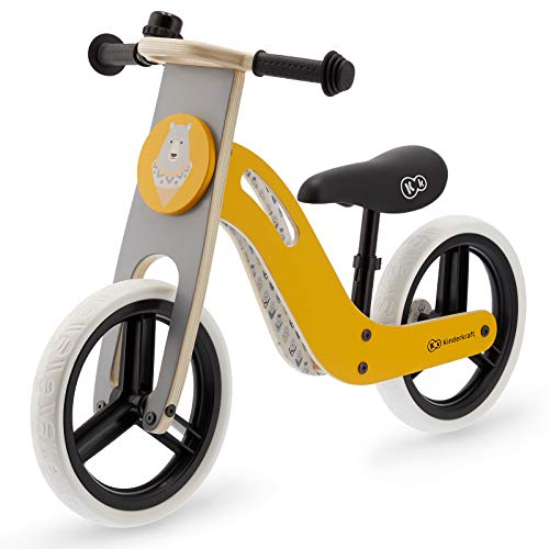 Kinderkraft Draisienne en Bois UNIQ, Eco, Enfant, Vélo Sans Pédales, Jaune Miel