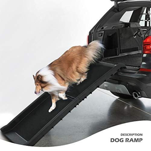 Folding Dog Ramp Large Portable Lightweight Dog and Cat Ramp Car Trunk SUV Back Seat Ladder Pet Collapsible Ramp Up to 200 lb
