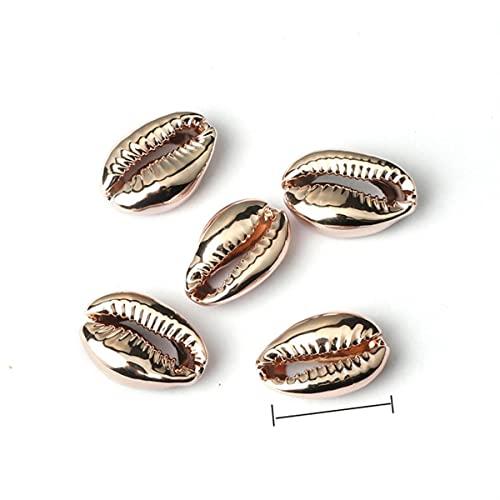 Electroplate Shell Beads Boho Natural Seashells Bead Conches Cowries Charms para bricolaje, collar, pulseras, fabricación de joyas, oro rosa 1.6-1.8cm, China, 50 piezas