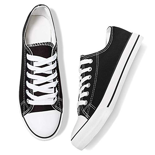 Adokoo Womens Canvas Shoes Casual Cute Sneakers Low Cut Lace up Fashion Comfortable for Walking(Black,US7
