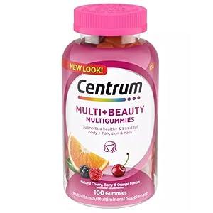 Centrum Multigummies + Beauty Gummy Multivitamin for Women, Fruit, 100 Count