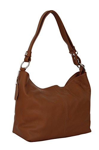 AMBRA Moda Damen Leder Handtasche Schultertasche Umhängetasche Hobo bag GL005 (Cognac Braun)
