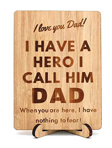 Zuaart Father's Day Handmade Greeting Card I Love You Dad Wooden Bamboo and Stand - I Have a Hero I Call Him Dad - Father's Day; Fathers gift for Daddy, Husband, Grandpa and friends Best World's Dad