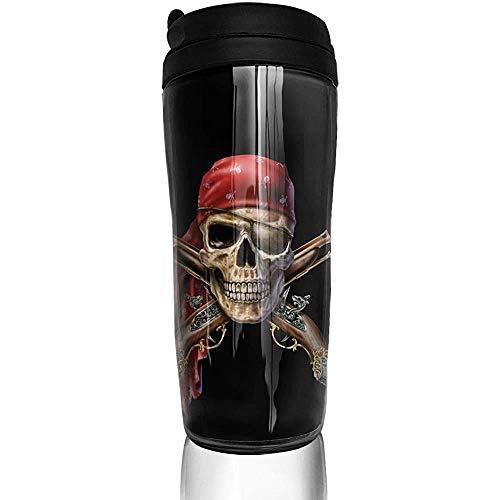 Yuanmeiju Pirata Capitán Calavera Mosquetes Calaveras con bufanda Botella de agua Tazas Trave Taza de café Vaso Taza de viaje reutilizable para exteriores
