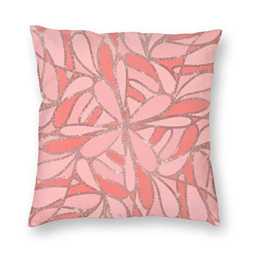 Girly Artsy - Funda de cojín con diseño moderno de purpurina, color rosa coral abstracto, terciopelo suave, decorativa, cuadrada, funda de almohada para salón, sofá o dormitorio con cremallera invisible de 20 x 20 pulgadas