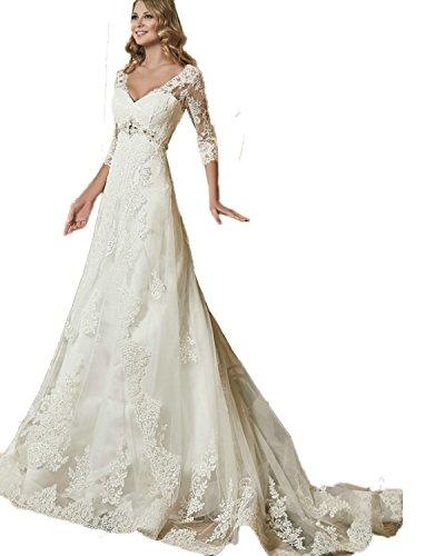 Aoturui - Vestido de boda de manga 3/4, con perlas, corsé, agujero...