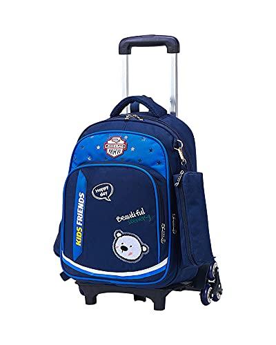 Mochila de Gran Capacidad con Ruedas Mochila de Equipaje de Viaje Bolso de la Carretilla Mochila Escolar para Niños Backpack,Azul