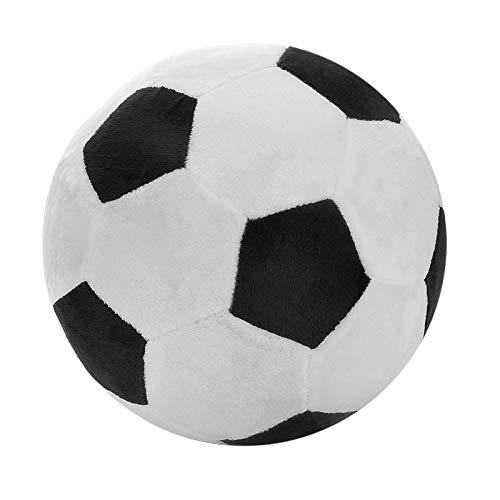 CHENPINBH Plüschtiere Fußball Sport Ball Dekokissen Gefüllte Weiches Plüschtier für Kleinkind Baby Jungen Kinder Geschenk (Color : Black)