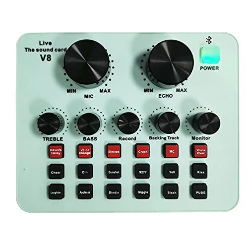 Tarjeta de sonido V8S Live Audio DJ Mixer & Voice Changer dispositivo de tarjeta de sonido mesa de mezclas para streaming en vivo, grabaciones de música, karaoke en el teléfono móvil ordenador rosa