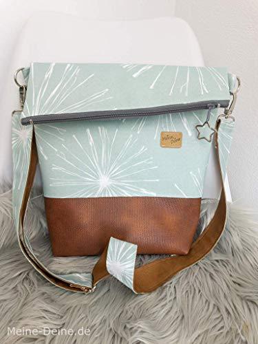 Foldover Tasche Handtasche Handmade genäht Outdoor mit Kunstleder