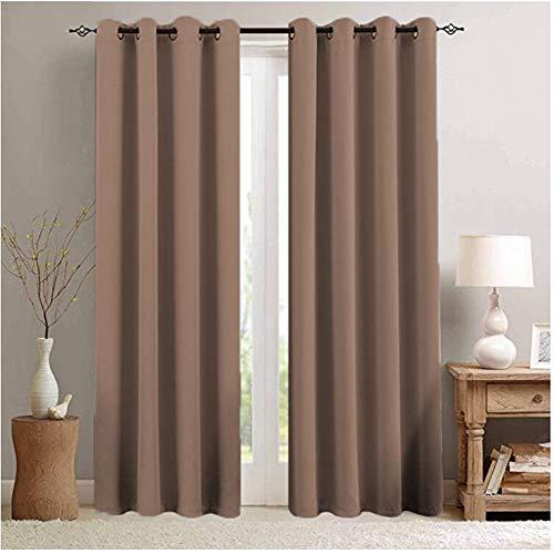 Cortinas opacas de color sólido, gruesas a prueba de sonido, aislamiento térmico, cortinas para ventana de dormitorio y sala de estar, 1 panel W300xH270cm(W118xH106inch) Color café