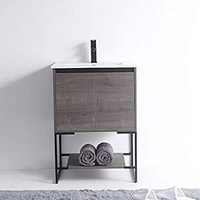 "Urbania Vanity 24"" Wide -2 Door/shelf, Classic Gray, With Sink"