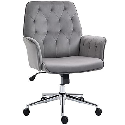 Vinsetto Velvet-Feel Fabric Office Swivel Chair Mid Back Computer Desk Chair with Adjustable Seat, Arm - Deep Grey