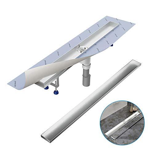 Komplett-SET - Duschrinne 60 cm AQUABAD® SDS Pro aus Edelstahl inkl. Haarsieb, Abgang senkrecht, befliesbare Mulde und Grundkörper-SET