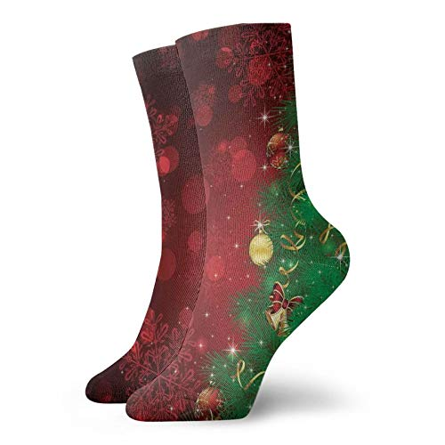 Soft Mid Calf Length Socks,Trippy Xmas Tree Backdrop Traditional Rituals Themed Jingle Artisan Design,Socks for Men Women