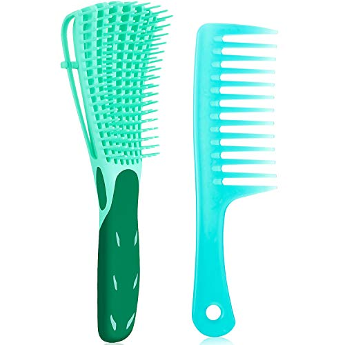 2 Pieces Detangling Brush for Curly Hair and Wide Tooth Comb ez Detangler Brush Hair Detangler Exfoliating for Afro Textured 3a to 4c Kinky/Wavy/Wet/Dry/Long/Thick Hair (Green)