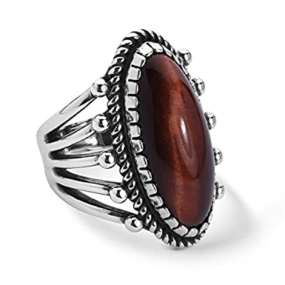 American West Sterling Silver Red Tiger's Eye Gemstone Oval Ring Size 7