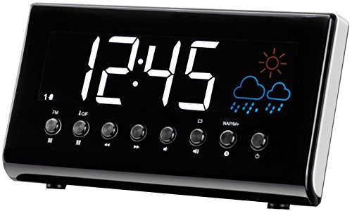 Denver CR-718 Uhrenradio (Wecker, PLL FM Radio, Display 3,5cm (1,4 Zoll), Wettervorhersage, Innentemperatur)