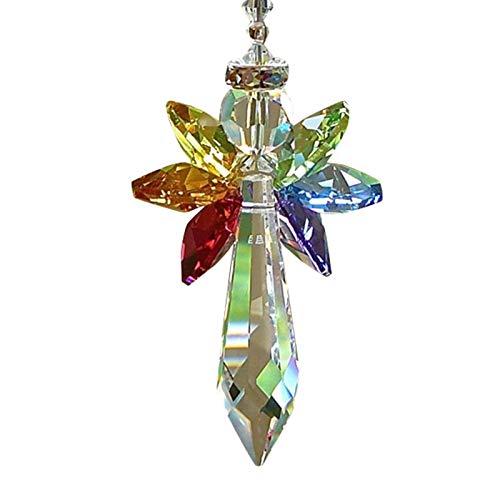 QKFON Crystal Decoration for Car Rainbow Angel Crystal Suncatcher Colorful Beaded Pendant Hanging Decoration Hanging Ornaments for Car Home