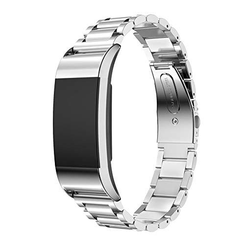 MVRYCE Charge 2 Correa de Reloj, Acero Inoxidable Sólido Accesorio Ajustable Correas de Repuesto de Metal Pulsera Comercial Compatible con Charge 2 para Mujeres y Hombres (Plata)