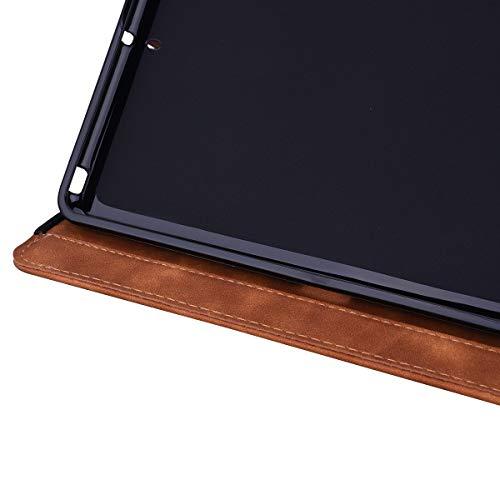 Lspcase iPad 10.2 Zoll 2019 Hülle PU Leder Case iPad 7 Generation Schutzhülle Brieftasche Flip Tasche Etui mit Kartenfach und Ständer für Apple iPad 10.2 (7 Generation) Mandala Blumen Muster Braun