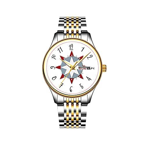 Reloj de pulsera para hombre, mecanismo de cuarzo, fecha, acero inoxidable, dorado, reloj náutico