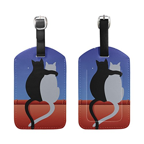 BENNIGIRY Cats Love With Moon Luggage Tags Travel Labels Tag Name Card Holder for Baggage Suitcase Bag Backpacks, 1 PCS