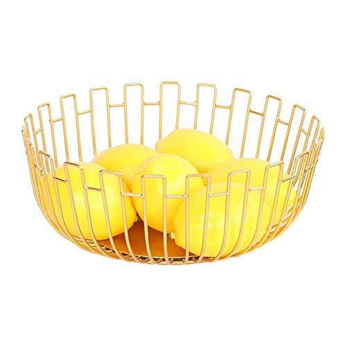 JIAHU Cesta de alambre para frutas y aperitivos, plato de almacenamiento de verduras, mesa de comedor, decoración de metal, hierro dorado, 1 unidad