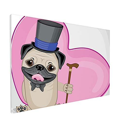 Home Decor Bathroom Wall Art Watercolor Canvas Prints,Presentable Funny Dog with a Top Hat And a Cane in Front of a Giant Heart,Painting Framed Stretched Pictures 12x18 Inches