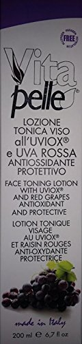 PHYTO SINTESI LINEA VITAPELLE FACE TONING LOTION WITH UVIOX AND RED GRAPES ANTIOXIDANT AND PROTECTIVE - LOZIONE TONICA VISO ALL' UVIOX E UVA ROSSA ANTIOSSIDANTE PROTETTIVO 200 ML