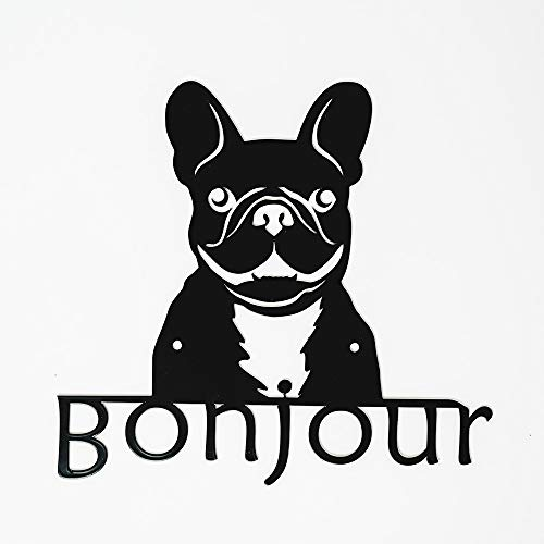 METAL WALL ART FRENCH BULLDOG WELCOME SIGN FOR INSIDE OR OUTSIDE ESAY TO HANG DURABLE & CUTE ARIEL METAL DESIGN