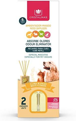 CRISTALINAS. Pack x2 Ambientador & Absorbe Olor Mikado para Mascotas. 0% Alcohol. Mas de 4+4 semanas de duracion. 2x30 ml. Aroma (Flores Blancas) (Unidad)