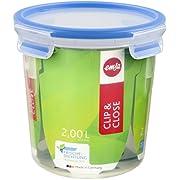 Emsa 508553 Clip & Close round food storage container 2.0 litres, transparent/blue