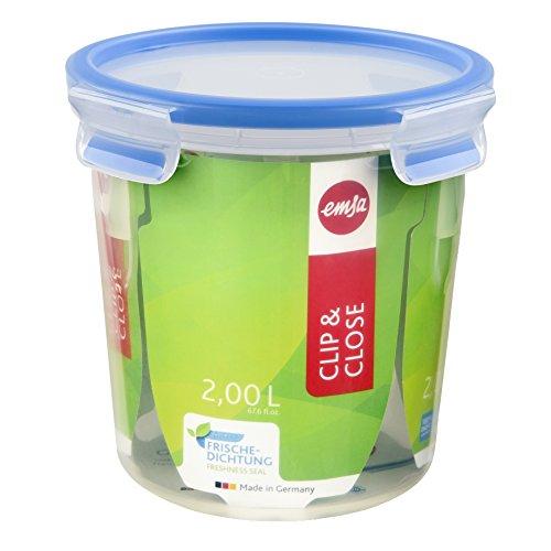 Emsa 508553 Runde Frischhaltedose mit Deckel, 2.0 Liter, Transparent/Blau, Clip & Close