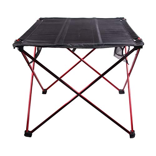 Yuxin Aluminum Alloy Outdoor Folding Table Oxford Cloth Tabletop Lightweight Portable Multifunctional Tables with Carry Bag for Casual BBQ,Camping and Picnic (Red, S)