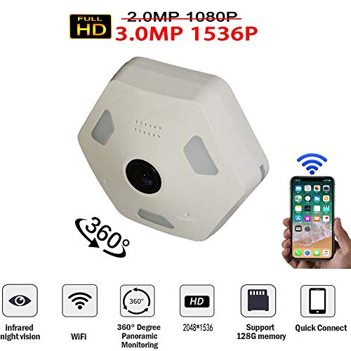 Douper All New Design Dome Camera 360 Degree Panoramic Monitor 3.0 Million Pixels 1536P HD Fisheye Camera for IOS Android APP Remote Home Smart Security System