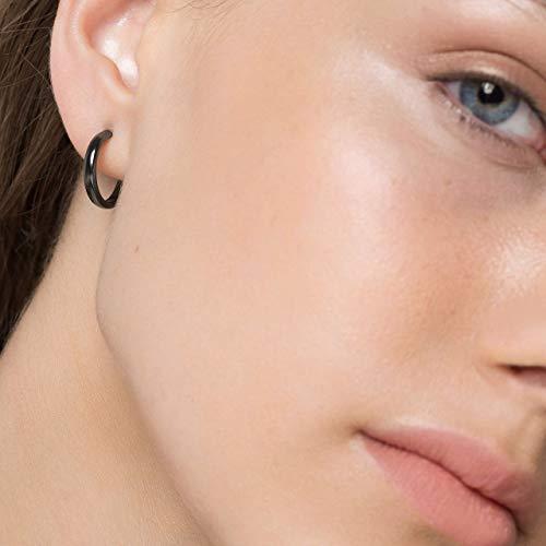 Sterling Silber Creolen für Frauen minimalistische Ohrringe schwarze Ohrringe Creolen Huggie Creolen hypoallergene Ohrringe kleine Creolen