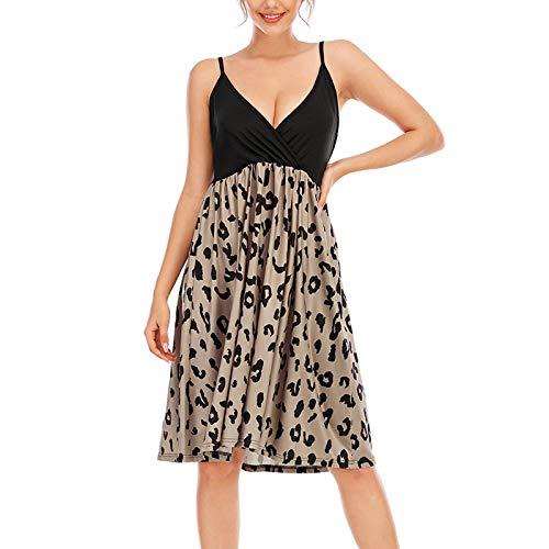 YANFANG Vestido Mujer Estampado,Vestido Bohemio Mujer, Vestido a la Rodilla sin Mangas con Cuello en V y Estampado Informal de Moda para Mujer