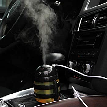 XRACING Car Air Humidifier Mini USB Car Humidifier 160ml with Color-Changing LED Light for Car Office Room Bedroom
